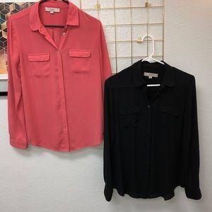 2 for $10! Black & salmon portfolio shirts